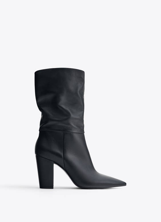 Black slouch leather boots