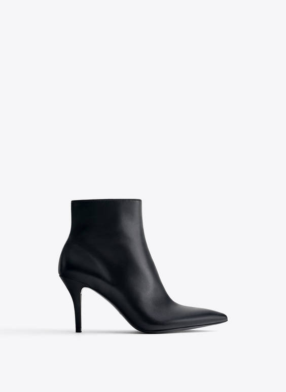 Nappa leather high heel ankle boots