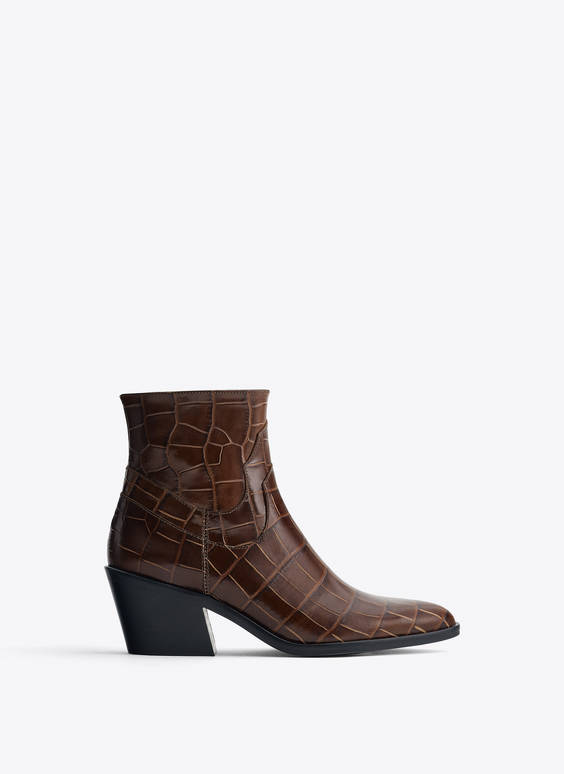 Mock croc cowhide leather ankle boots