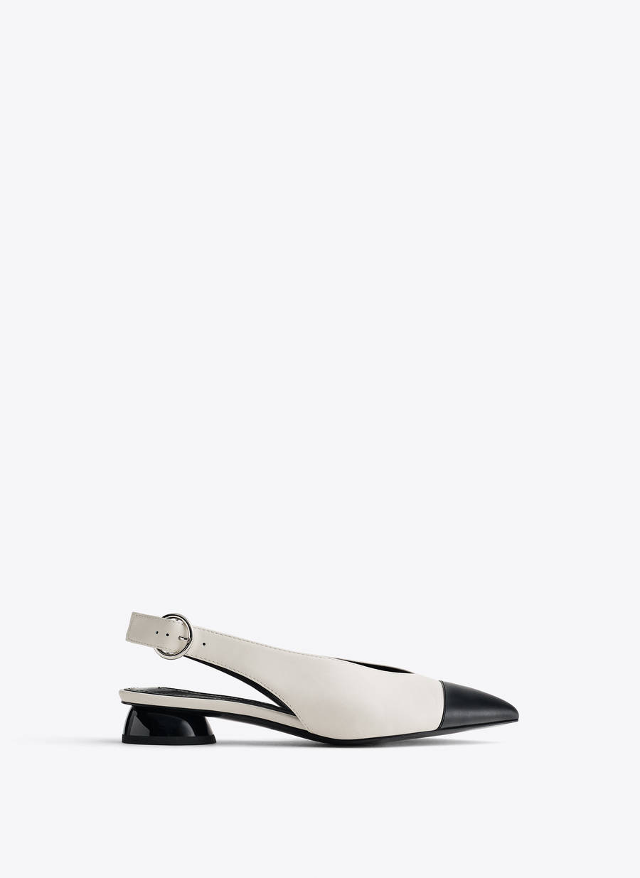 Flat pointed leather slingbacks - Flat Shoes - Footwear - Uterqüe Kazakhstan