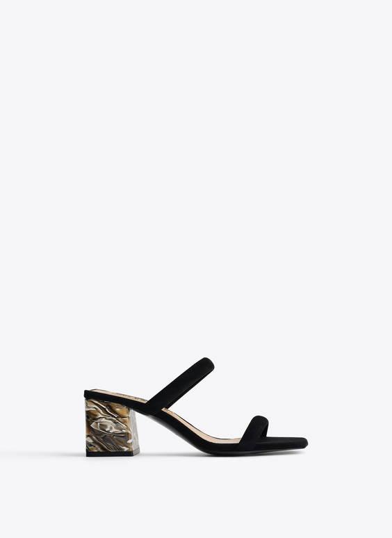 Sandale din piele întoarsă cu toc efect marmorat
