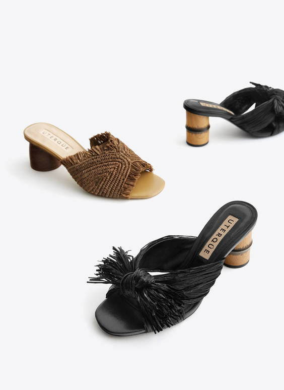 Raffia sandals with bamboo heels