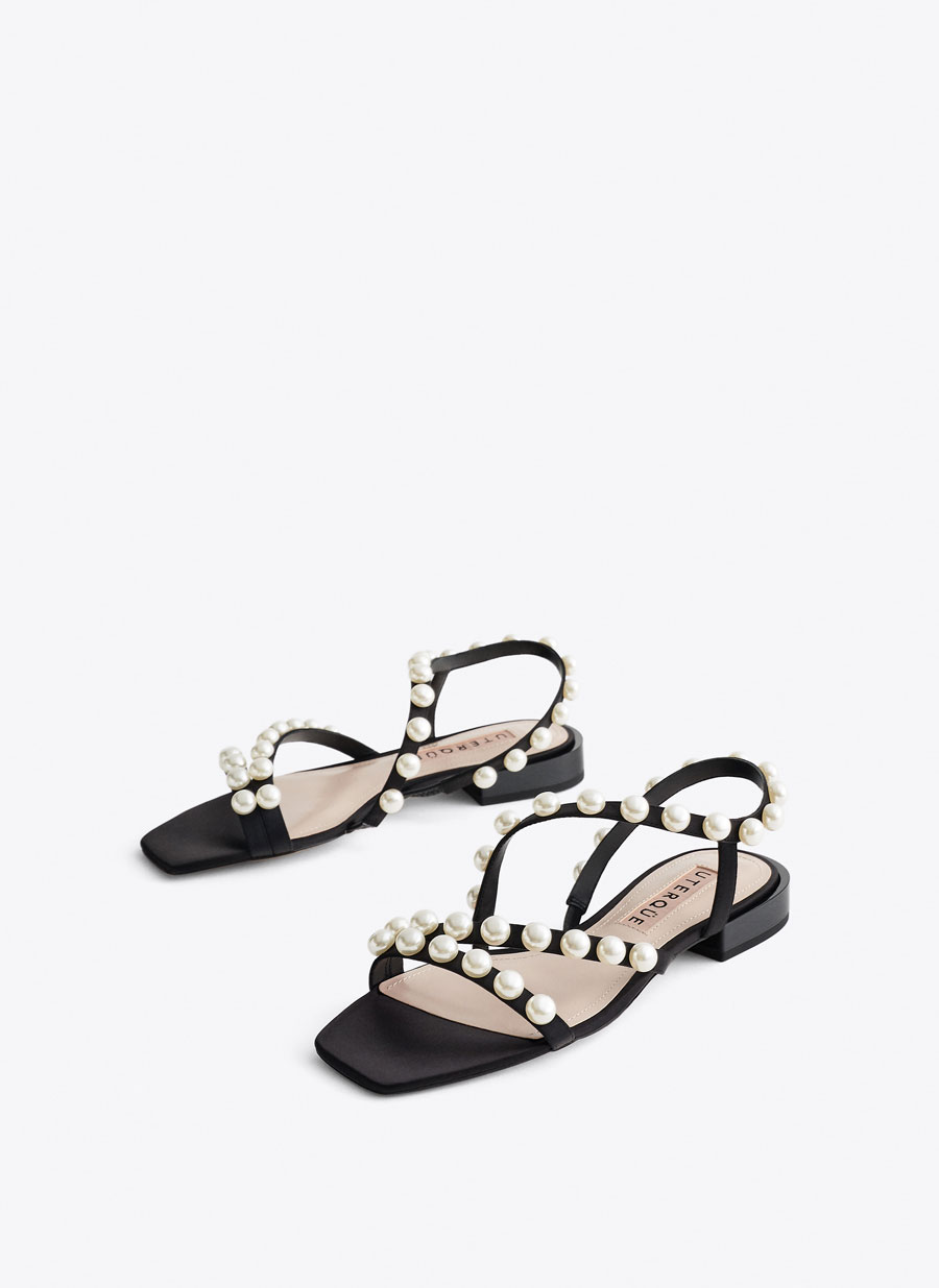 8a3d3d53c8 Flat sandals with pearl-bead-trimmed straps - Footwear - New in - Uterqüe  Ireland