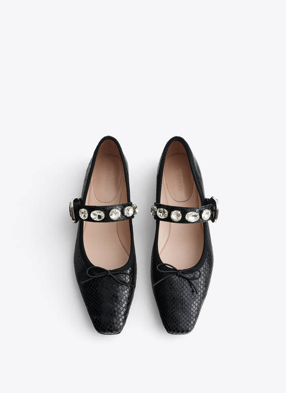 Embossed leather ballerinas with bejewelled straps