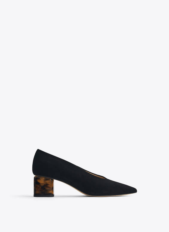 Suede court shoes with tortoiseshell heels