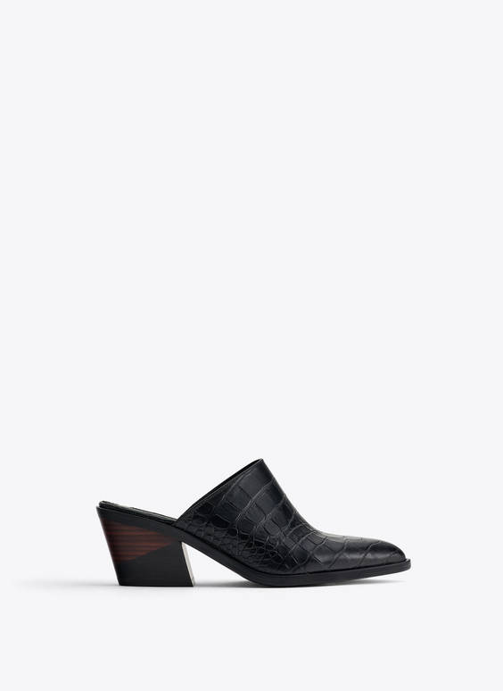 Mock croc leather mid heel mules