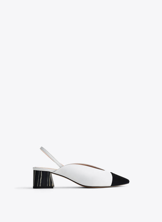 Two-tone slingback heels with contrast toecap