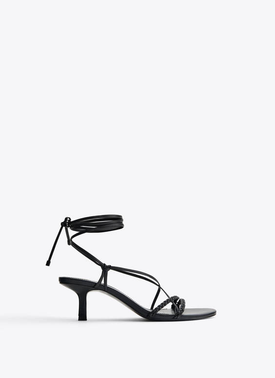 Nappa leather sandals with braided straps