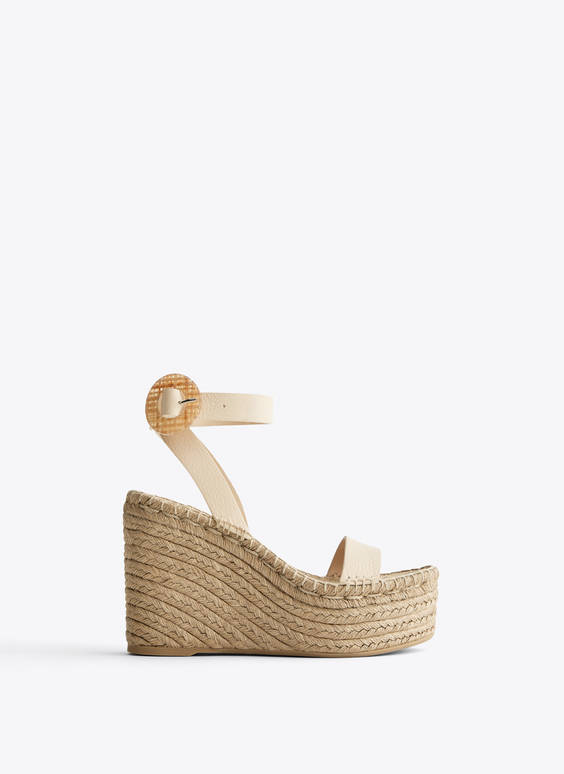 Leather and jute wedges with buckle detail
