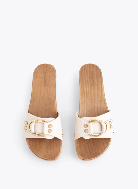 Leather clog sandals