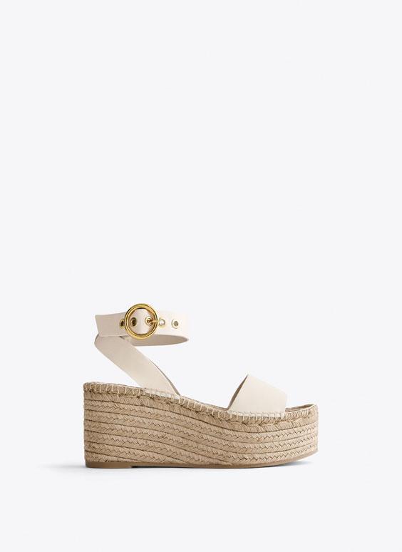 Pilnpapēžu sandales ar džutas platformu, bēšā krāsā