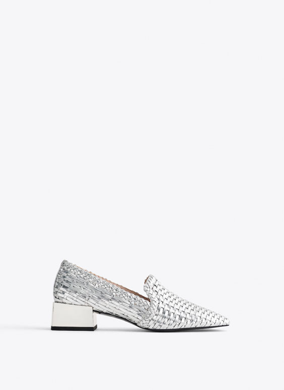 Woven silver loafers