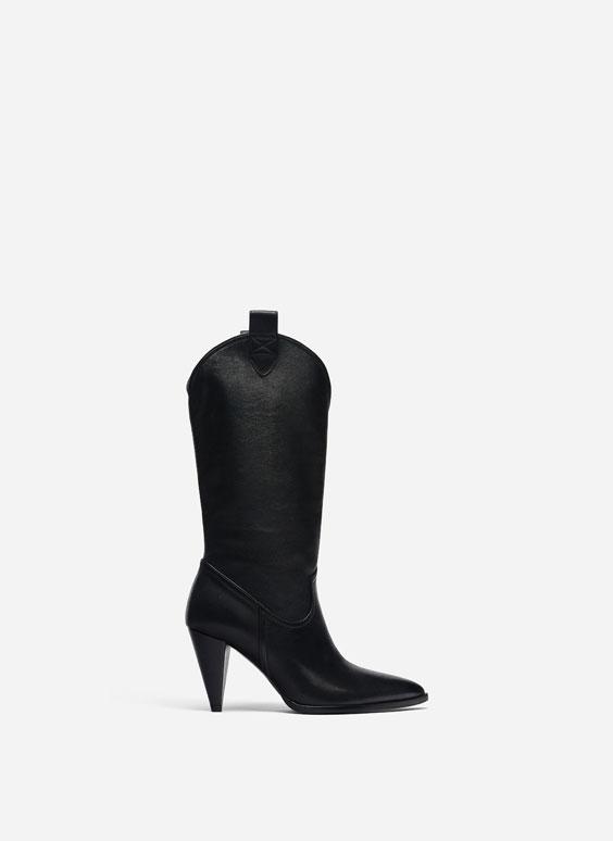 Juodi kaubojaus stiliaus auliniai batai