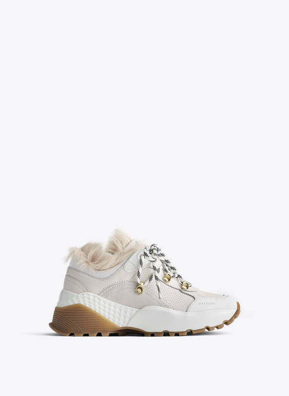White trainers with sheepskin detail
