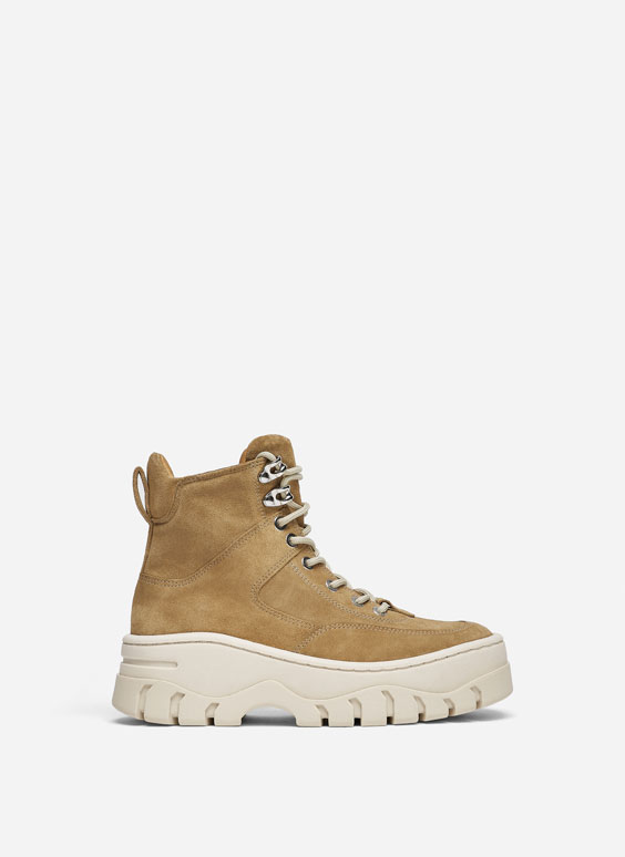 Split suede high-top mountain boots