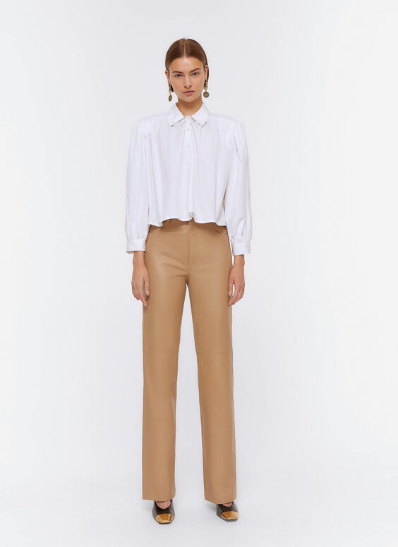 Straight-cut leather trousers