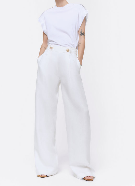 Embellished linen trousers