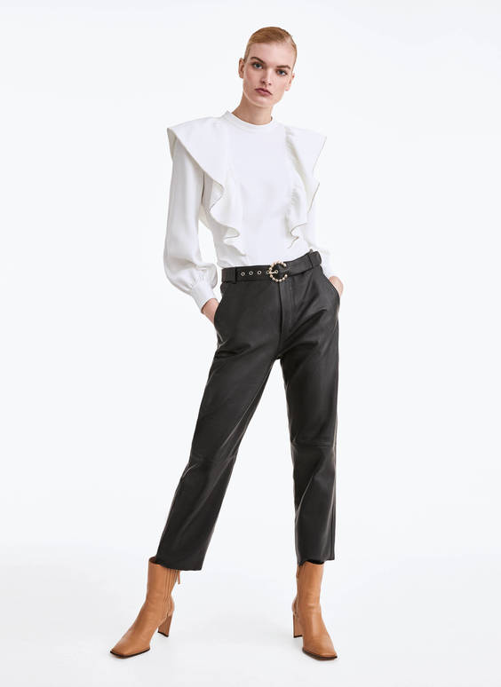 Leather trousers with buckle