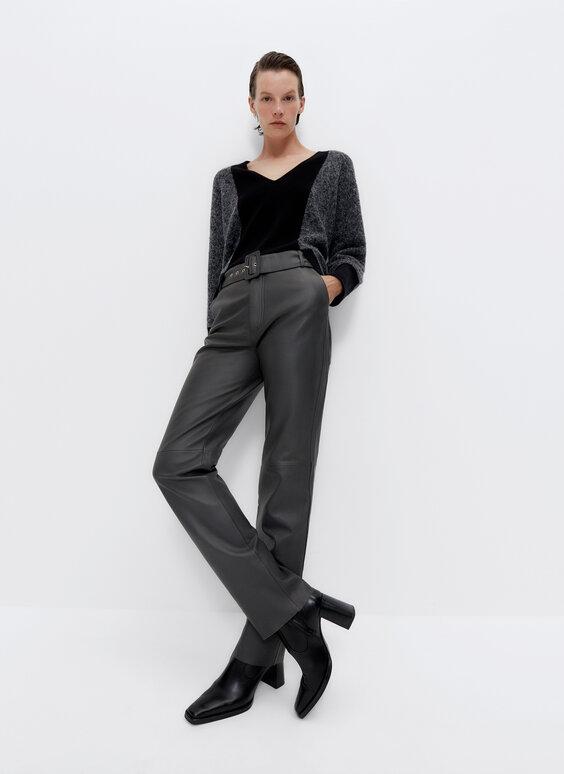 Pantalon en cuir avec boucle