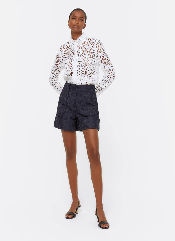 Guipure lace Bermuda shorts