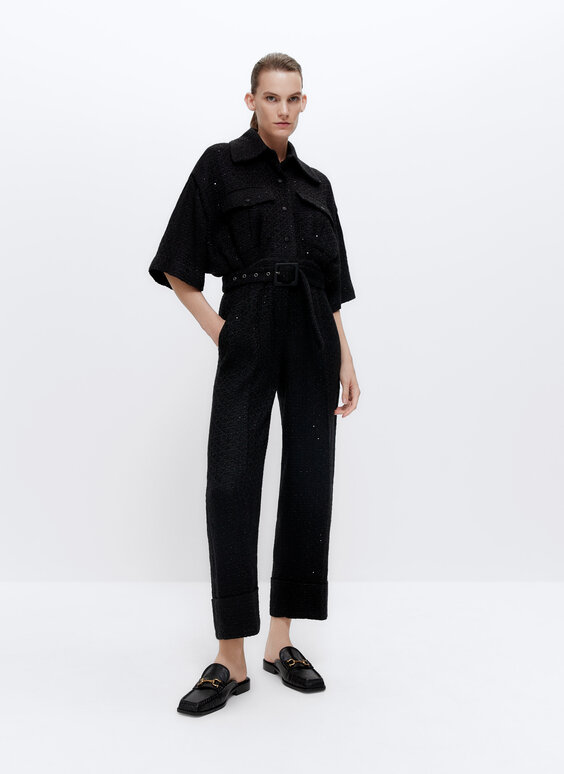 Frayed jumpsuit with sequin