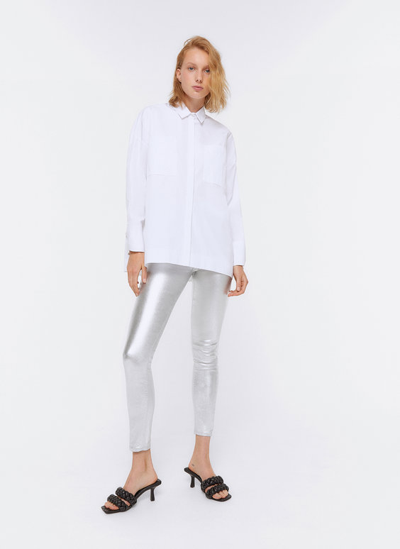Silver laminated trousers
