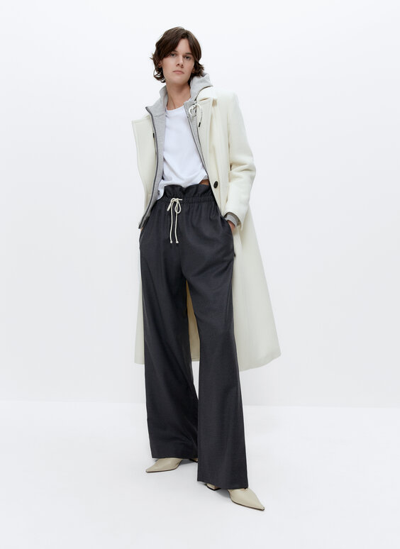 Wool trousers with elastic waist