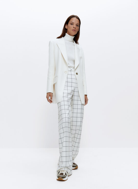Wide windowpane check trousers