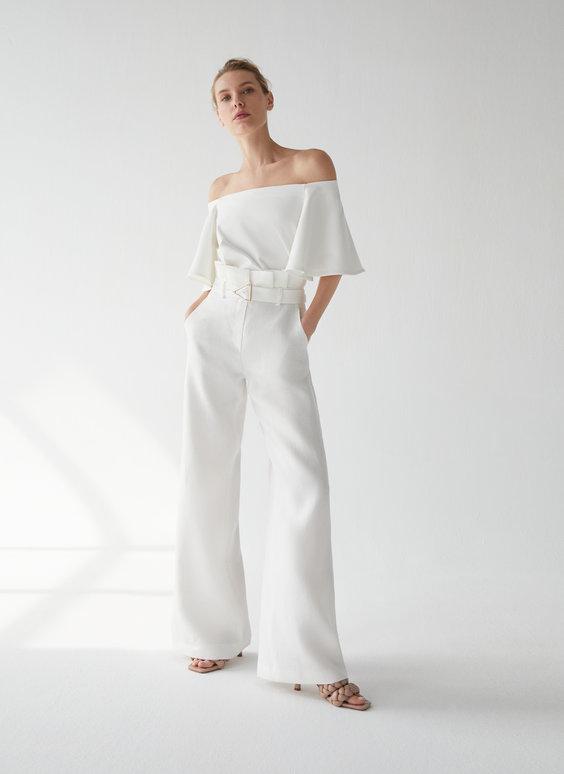 Lininės kelnės su sagtimi