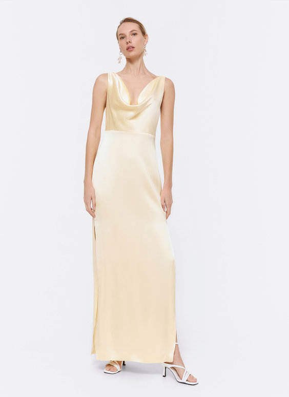 Dress with draped neckline