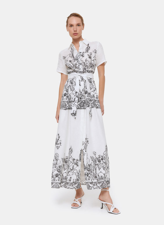 Printed linen dress