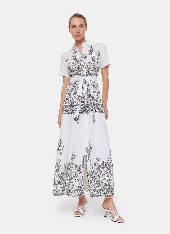 Lněné šaty s potiskem