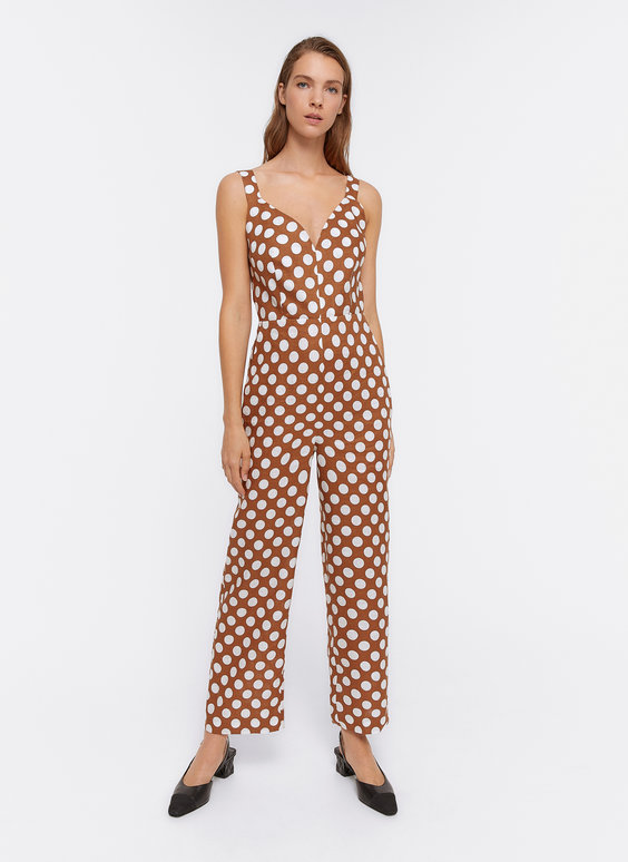 Linen jumpsuit with polka dots