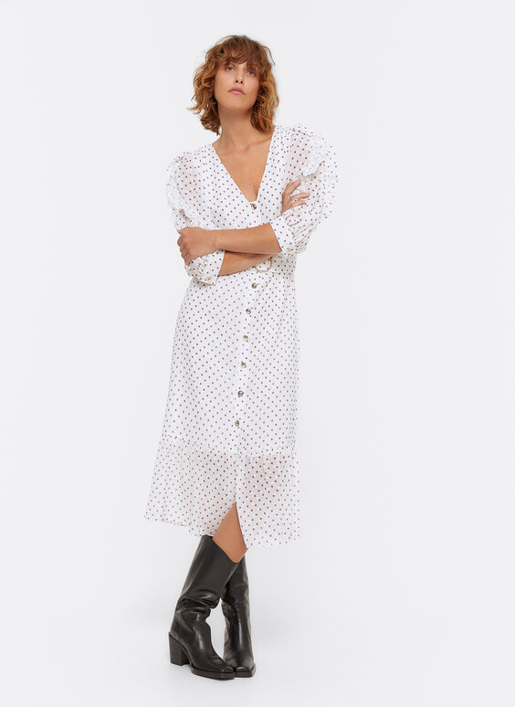 Plumetis dress with polka dots