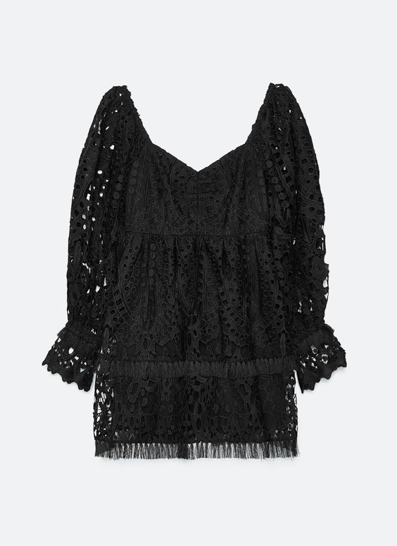 Black guipure lace dress