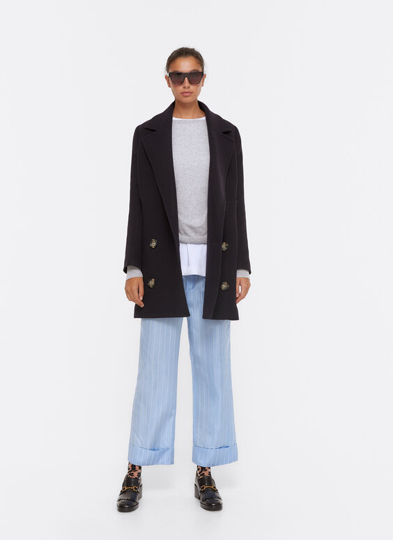 Loose-fitting, sky blue stripe trousers