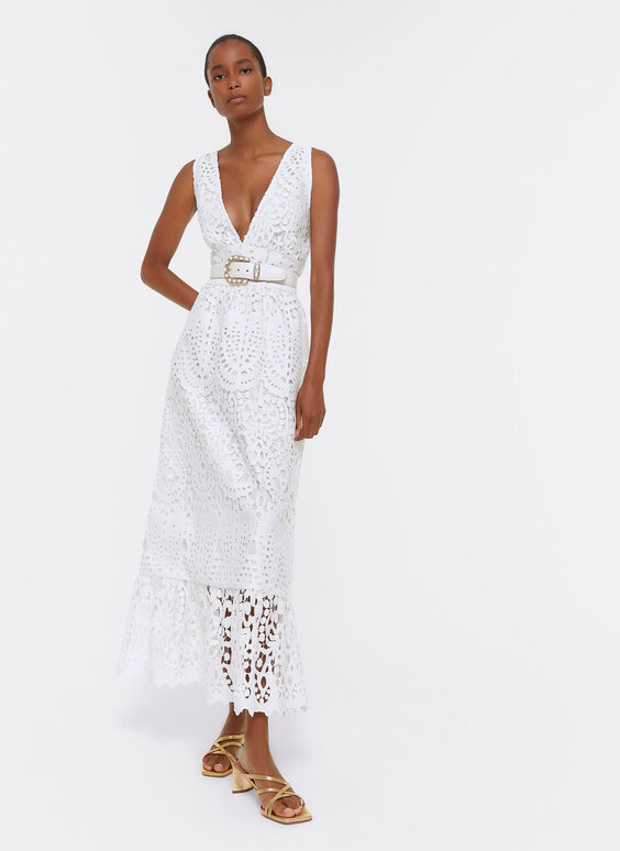 White guipure lace dress