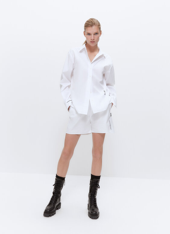 IN/OUT white poplin Bermuda shorts