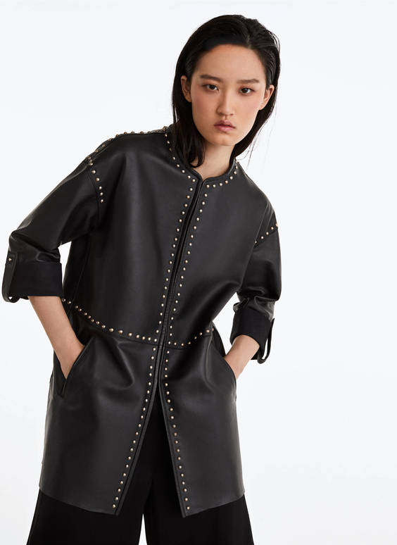 Studded leather overshirt