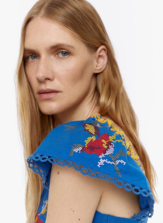 Blue top with embroidery