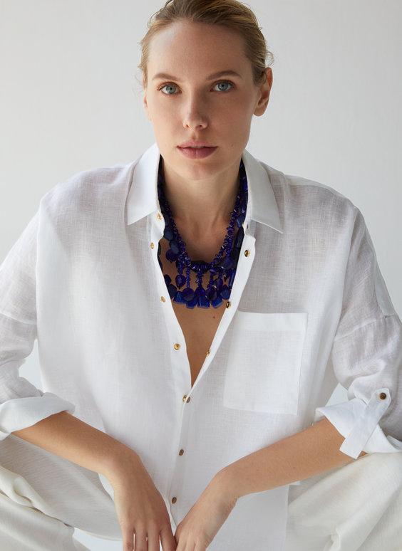 Leinenhemd mit Druckknopfverschluss