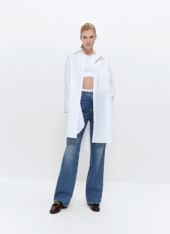 IN/OUT white poplin oversize blouse