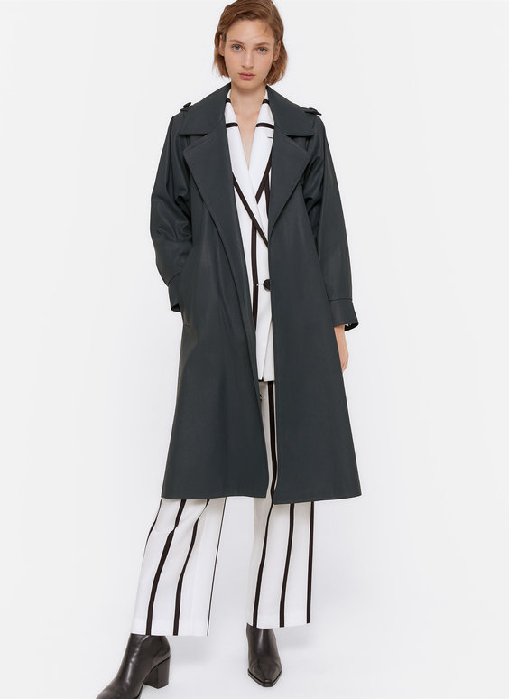 Waxed trench coat