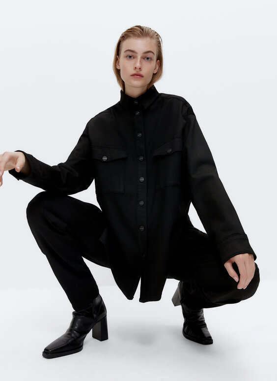 Black denim overshirt