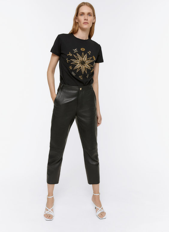 Embroidered rhinestone zodiac T-shirt