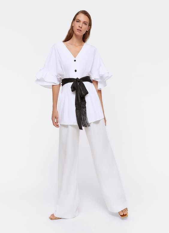 Belted top with ruffled sleeves