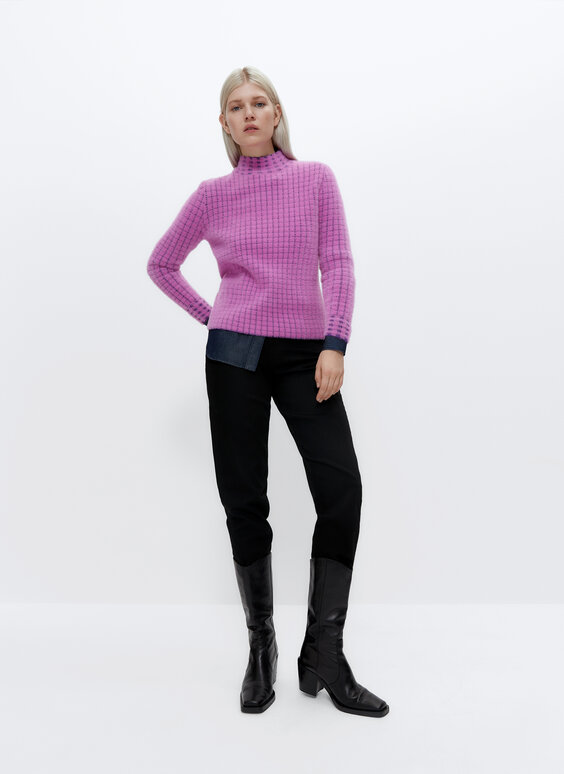 Jacquard mock neck sweater