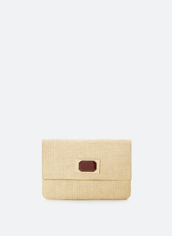 Wicker clutch with stone