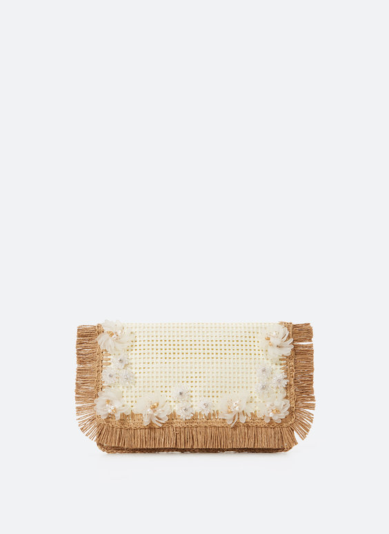 Raffia-effect handbag with flowers