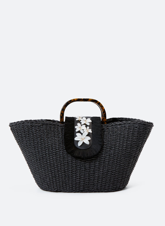 Woven tote bag with flowers